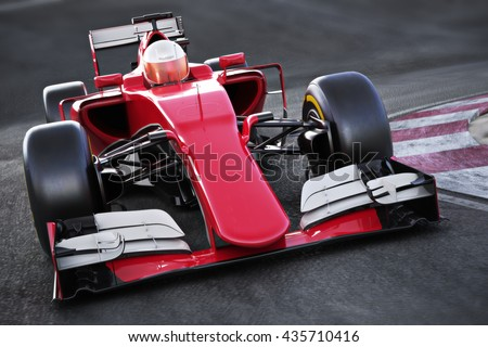 Motor sports race car Front angled view speeding down a track . 3d rendering - stock photo