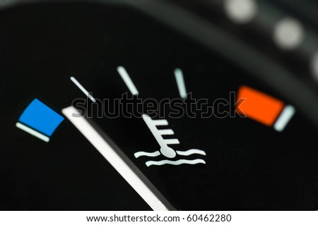 Motor temperature gauge of a car - stock photo