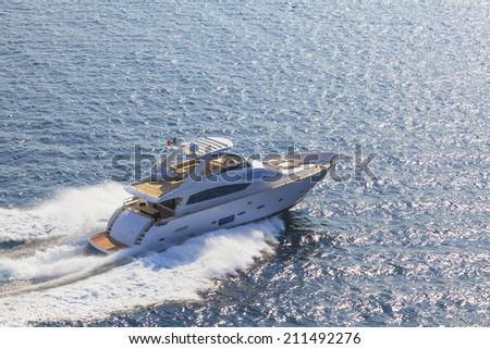 motor yacht, boat - stock photo