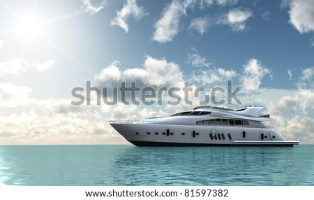 motor yacht in the ocean