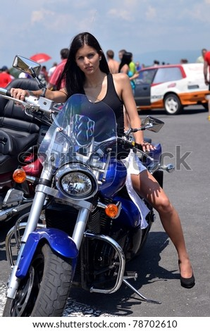 motorbike and babe - stock photo