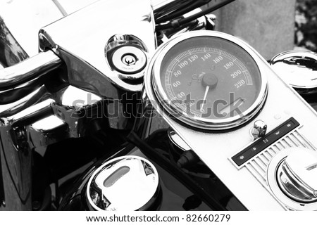 Motorbike details - speedometer - stock photo