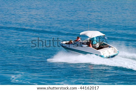 Motorboat on the route on mediterranean sea - stock photo
