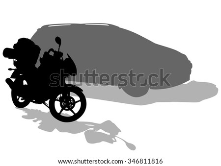 Motorcycl and car on white background - stock photo