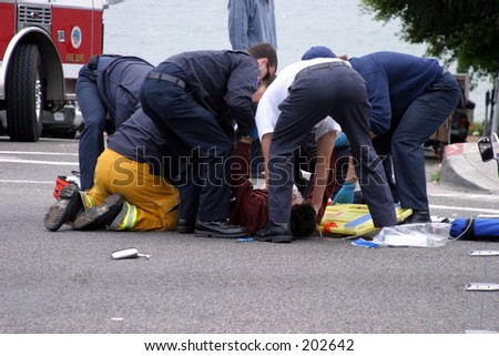 Motorcycle accident - stock photo