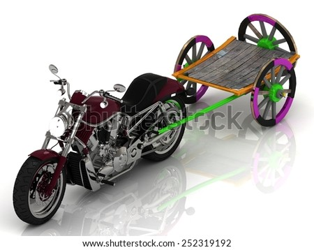 Motorcycle carries Colour old wagon cart   - stock photo