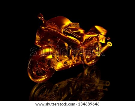 Motorcycle fire. 3d model motorcycle. Isolated on a black background with reflection on the floor. Transport abstraction. Sport concept - stock photo