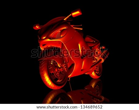 Motorcycle fire. 3d model motorcycle. Isolated on a black background with reflection on the floor. Transport abstraction. Sport concept