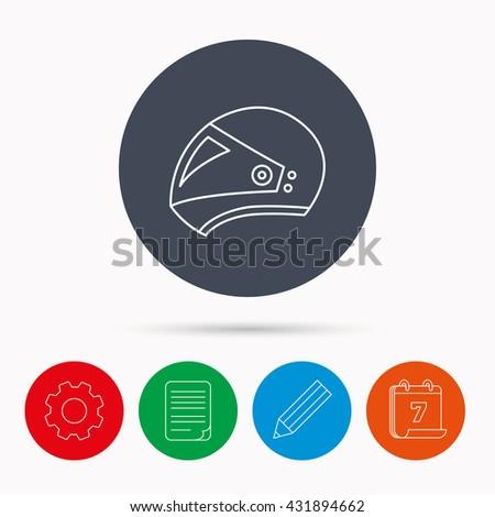 Motorcycle helmet icon. Biking sport sign. Calendar, cogwheel, document file and pencil icons. - stock photo