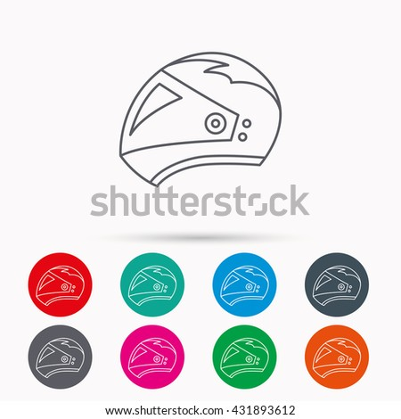 Motorcycle helmet icon. Biking sport sign. Linear icons in circles on white background. - stock photo