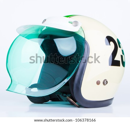 motorcycle helmet over white background