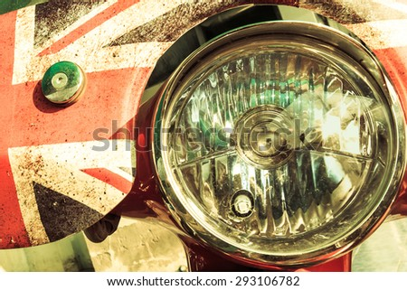 Motorcycle light in vintage style. - stock photo