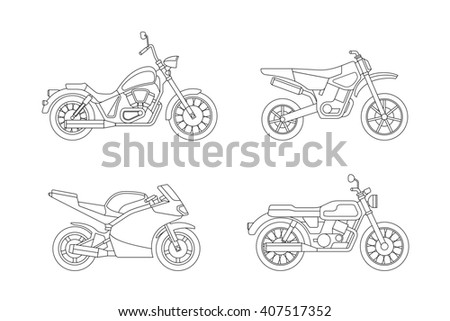 Motorcycle line icons set. Line illustrations of different type motorcycles. Raster version. - stock photo