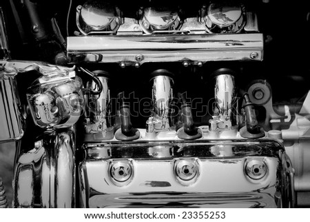 Motorcycle motor fragment - black and white - stock photo