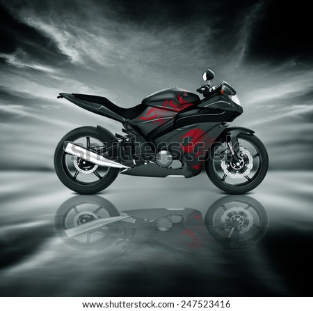 Motorcycle Motorbike Bike Riding Rider Contemporary Black Concept - stock photo