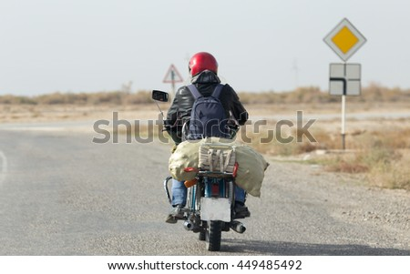 motorcycle on the road - stock photo