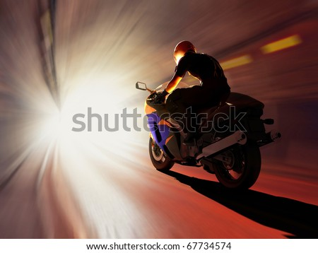 Motorcycle racing on the highway - stock photo