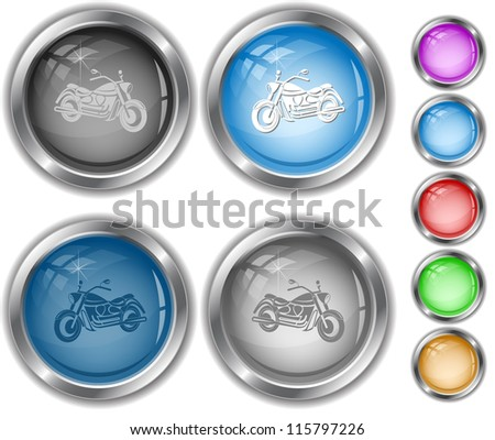 Motorcycle. Raster internet buttons. Vector version is in portfolio. - stock photo