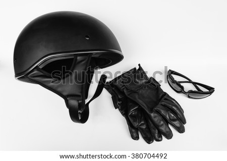 Motorcycle Riders Gear- Helmet, Gloves and Glasses