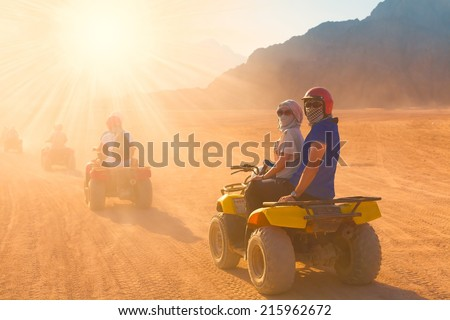 motorcycle safari egypt people travel beautiful  holiday background, extreme hobby games  speed achievement tracking, sinai sharm desert - stock photo