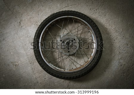 motorcycle wheel - stock photo