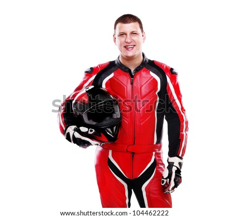 Motorcyclist biker in red equipment holding helmet on white background - stock photo