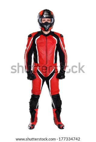 motorcyclist in red full length on white background - stock photo