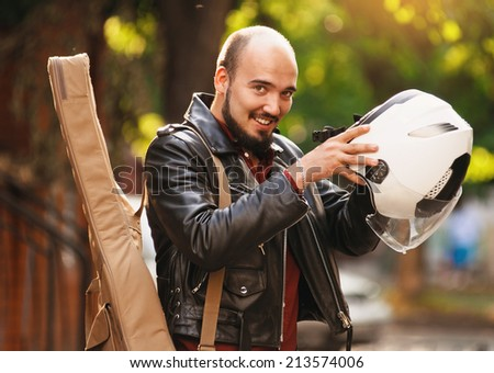 White Motorcycle Helmet Black Jacket Black Jacket And White