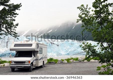 motorhome across from glacier - stock photo