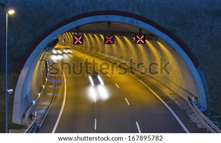 Motorway A1 - E5, in passing through Renteria. - stock photo