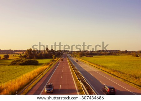 Motorway on the Countryside in Germany - stock photo