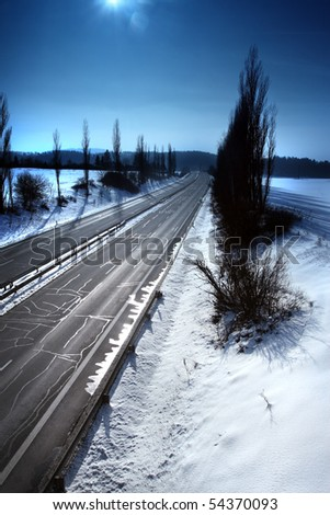 Motorway throughout the country - stock photo