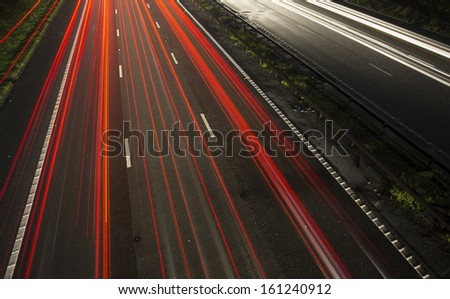 motorway trails, M6 heading to birmingham - stock photo