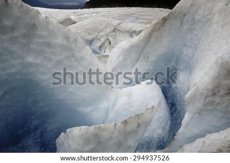 Moulin at Mendenhall Glacier, Juneau, Alaska - stock photo