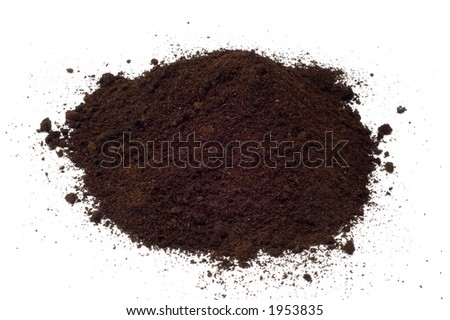 Mound of dirt isolated on white background. Useful as a design element, part of a larger work.