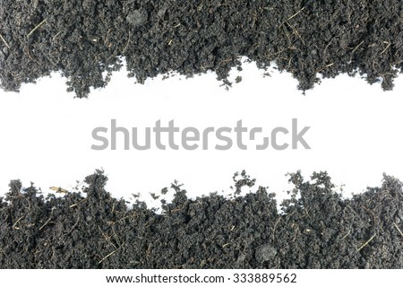Mound of soil for growing plants mixture rich in minerals isolated on white with space for text. - stock photo