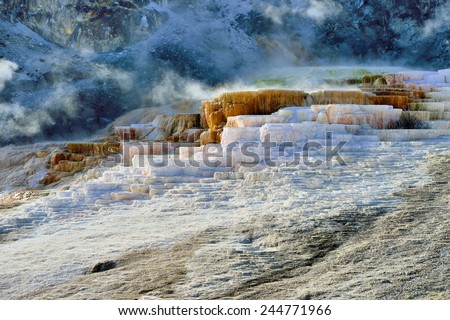 Mound Terrace in Mammoth Hot Springs area of Yellowstone National Park, Wyoming - stock photo