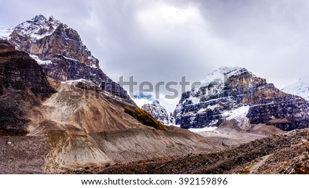 Mount Aberdeen and Mount Lefroy viewed from the hiking trail to the Plain of Six Glaciers at Lake Louise in the Canadian Rocky Mountains - stock photo