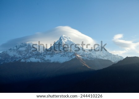 Mount Annapurna South At Sunrise In Himalayas