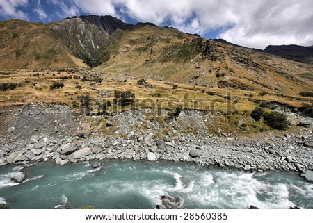 Mount Aspiring National Park in New Zealand. Glacial river.