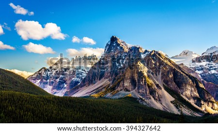 Mount Babel or the Tower of Babel with its sharp and dominant peak in Banff National Park in the Canadian Rocky Mountains - stock photo