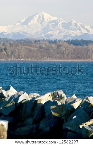 Mount Baker viewed accross of Mud Bay from White Rock Pier - stock photo