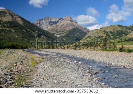 Mount Blakiston and Blakiston Creek in Waterton Lakes National Park, Alberta, Canada - stock photo