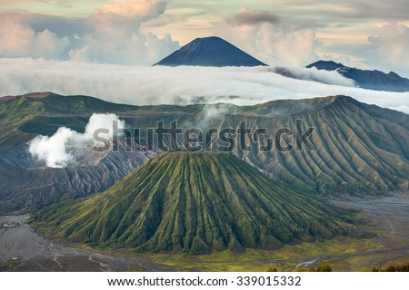 Mount Bromo and Batok volcanoes in Bromo Tengger Semeru National Park, East Java, Indonesia. - stock photo