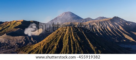 Mount Bromo blue sky day time nature landscape background, Java, Indonesia