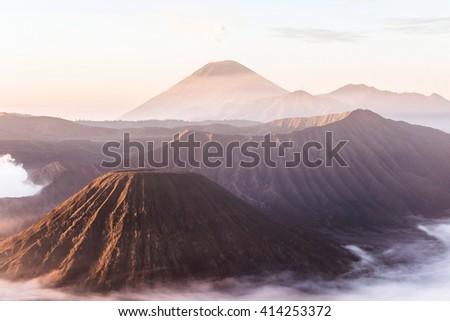 Mount Bromo volcano at sunrise - stock photo
