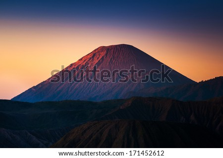 Mount Bromo volcanoes in Bromo Tengger Semeru National Park, East Java, Indonesia - stock photo