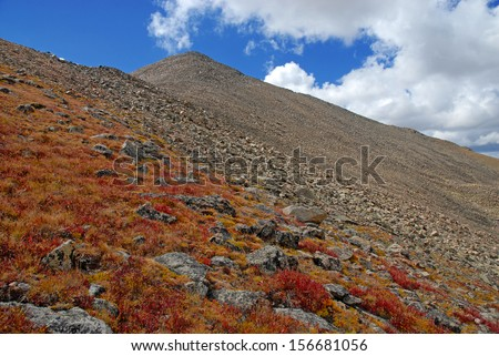 Mount Columbia in Fall Colors, Rocky Mountains Colorado - stock photo