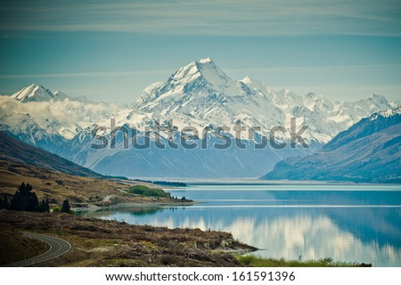 Mount Cook and Lake Pukaki New Zealand - stock photo