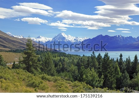 Mount Cook / Aoraki, and Lake Tekapo, South Island, New Zealand - stock photo
